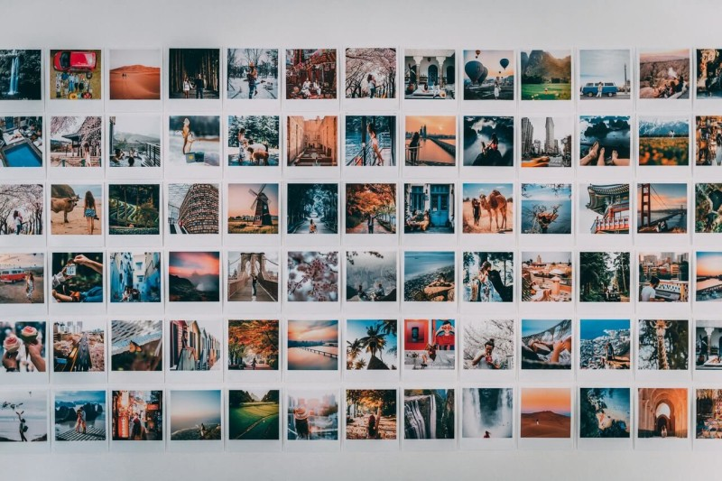 parede de fotos polaroid